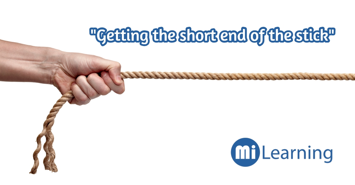 """""""Getting the short end of the stick""""是什麼意思呢?"""